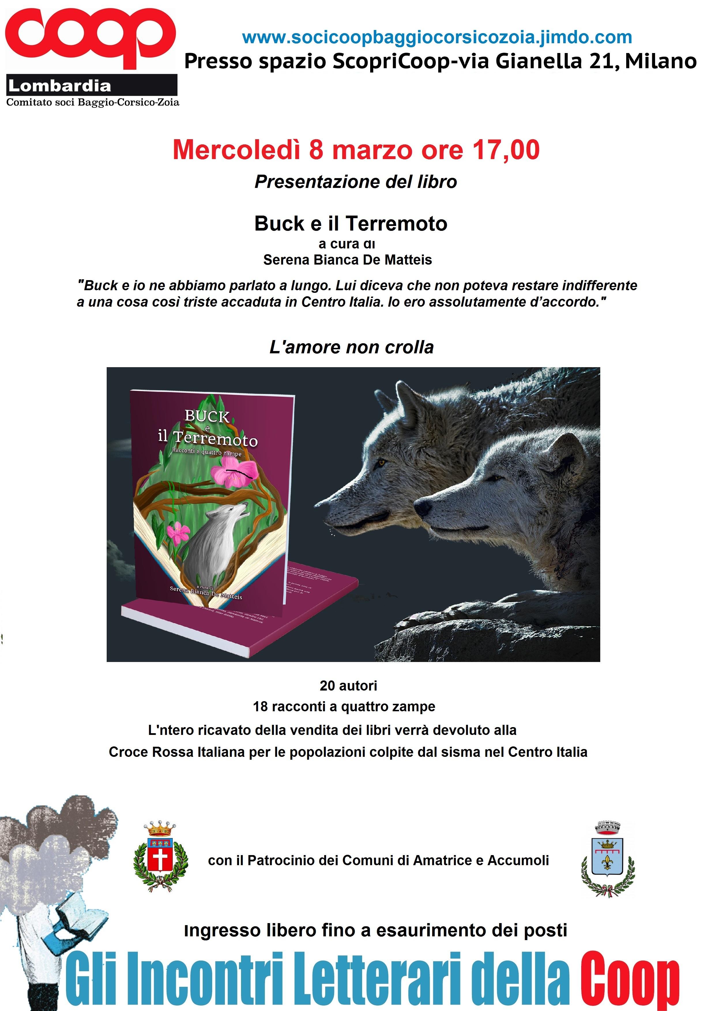 Presentazione di Buck e il Terremoto – 8 marzo 2017 Spazio Coop Milano